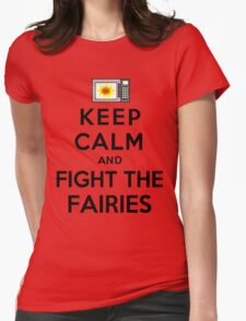 Keep Calm And Fight The Fairies (Black) Womens Fitted T-Shirt