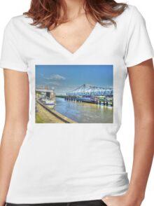 Reedham Swing Bridge Women's Fitted V-Neck T-Shirt