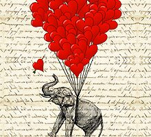 Elephant and love heart by oconnart