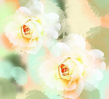 Watercolor pastel Roses by walstraasart