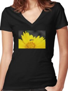 Profile of a Tiny Bee on a Yellow Daisy Women's Fitted V-Neck T-Shirt