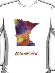 Minnesota US state in watercolor T-Shirt