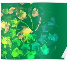 green blue and peach abstract Poster