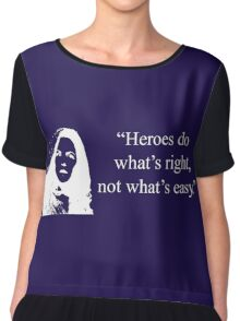 Heroes Do What's Right (in White) Chiffon Top
