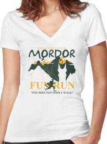 Mordor Fun Run Women's Fitted V-Neck T-Shirt