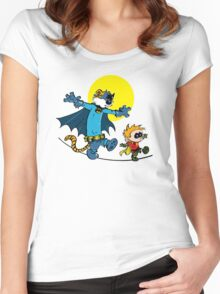 Dynamic Duo Calvin and Hobbes Women's Fitted Scoop T-Shirt