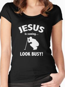 Funny Golf Jesus Is Coming Look Busy Women's Fitted Scoop T-Shirt
