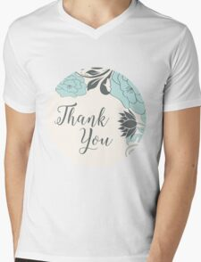 Blue And Brown Flower & Thank You text Design Mens V-Neck T-Shirt
