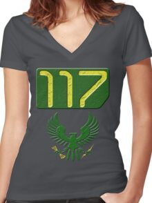 117 Tag Women's Fitted V-Neck T-Shirt