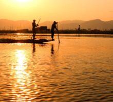 Burmese fishermen Sticker