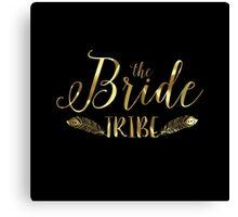 Black Circle Gold text-The Bride tribe Canvas Print