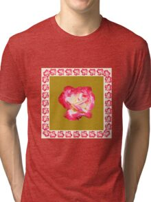 Red and Cream Rose Tri-blend T-Shirt