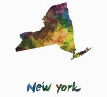 New York US state in watercolor Kids Clothes