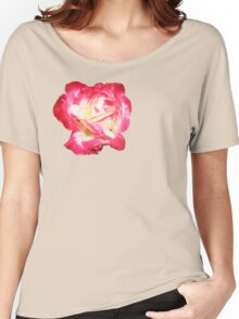 Red and Cream Rose Women's Relaxed Fit T-Shirt