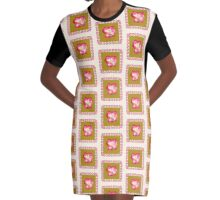 Red and Cream Rose Graphic T-Shirt Dress
