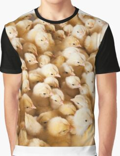 Large Group Of Baby Chicks On Chicken Farm Graphic T-Shirt