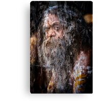 Aboriginal fullblood portrait on paperbark Canvas Print