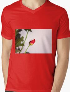 Watercolor style natural background with beautiful colorful flower petals and leaves. Mens V-Neck T-Shirt