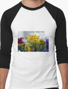 Watercolor style natural background with beautiful colorful flower petals. Men's Baseball ¾ T-Shirt