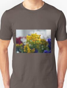 Watercolor style natural background with beautiful colorful flower petals. Unisex T-Shirt