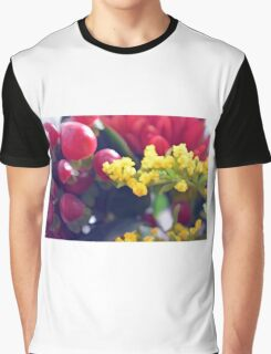 Watercolor style natural background with beautiful colorful flower petals and leaves. Graphic T-Shirt