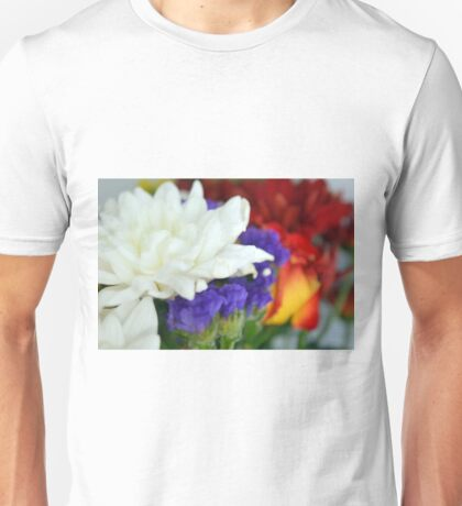 Watercolor style natural background with beautiful colorful flower petals and leaves. Unisex T-Shirt