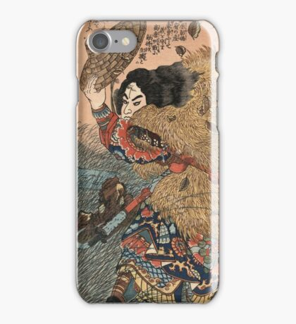 Utagawa Kunisada - Kinhyoshi Yorin. Man portrait: strong man,  samurai ,  hero,  costume,  kimono,  tattoos ,  sport,  sumo, manly, sexy men, macho iPhone Case/Skin