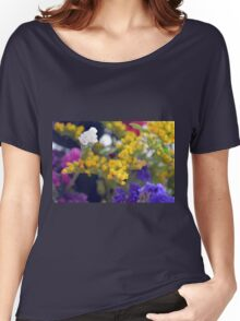 Watercolor style natural background with beautiful colorful flower petals. Women's Relaxed Fit T-Shirt