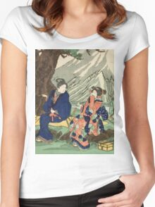 Utagawa Kuniyoshi - Act Eight (Hachi Danme)1854. Mountains landscape: mountains, rocks, rocky nature, sky and clouds, trees, peak, women, men, hill, travel, hillside Women's Fitted Scoop T-Shirt