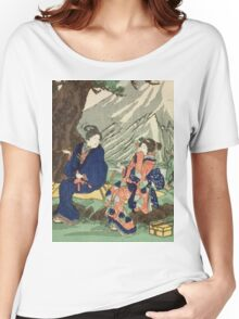 Utagawa Kuniyoshi - Act Eight (Hachi Danme)1854. Mountains landscape: mountains, rocks, rocky nature, sky and clouds, trees, peak, women, men, hill, travel, hillside Women's Relaxed Fit T-Shirt