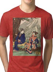 Utagawa Kuniyoshi - Act Eight (Hachi Danme)1854. Mountains landscape: mountains, rocks, rocky nature, sky and clouds, trees, peak, women, men, hill, travel, hillside Tri-blend T-Shirt