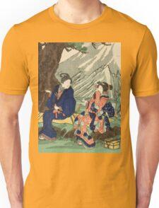 Utagawa Kuniyoshi - Act Eight (Hachi Danme)1854. Mountains landscape: mountains, rocks, rocky nature, sky and clouds, trees, peak, women, men, hill, travel, hillside Unisex T-Shirt