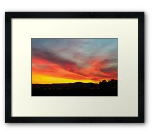 fiery sunset of Yellow orange and red  Framed Print