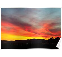 fiery sunset of Yellow orange and red  Poster