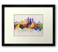 Dallas skyline in watercolor background Framed Print