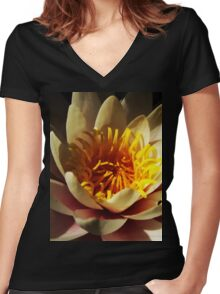 Pink and Yellow Waterlily  Women's Fitted V-Neck T-Shirt