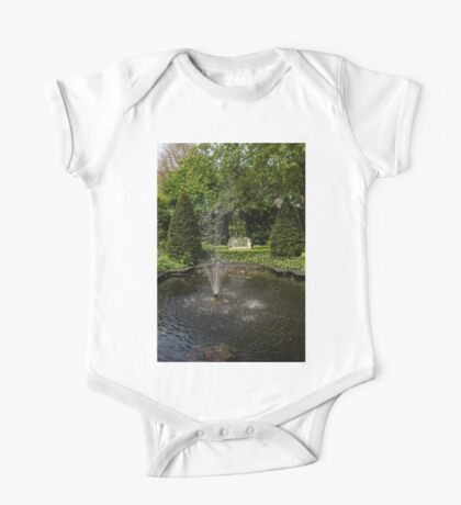Backyard Oasis - White Garden Bench by the Fountain One Piece - Short Sleeve