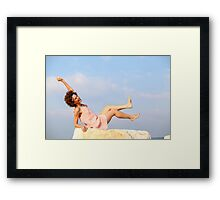 A happy, smiling 28 year old new age style woman  Framed Print