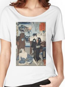 Utagawa Kuniyoshi - Kusatsu1853. Man portrait:  mask,  face,  man ,  samurai ,  hero,  costume,  kimono,  tattoos ,  sport,  sumo, macho Women's Relaxed Fit T-Shirt