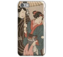 Utagawa Kuniyoshi - Osatao And Gonta1. Lovers portrait: sensual woman, woman and man, kiss, kissing lovers, embrace, lovely couple,  lover, valentine's day, sexy, romance, female and male iPhone Case/Skin