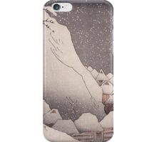 Utagawa Kuniyoshi - Snow At Tsukahara, Sado Island, 1271. Mountains landscape: mountains, rocks, rocky nature, sky and clouds, trees, peak, forest, rustic, hill, travel, hillside iPhone Case/Skin