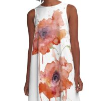 Crimson Poppies A-Line Dress