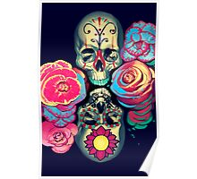 Skulls and Flowers Poster