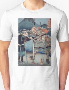Utagawa Kuniyoshi - Yamamoto Kansuke Haruyuki. Woman portrait: sensual woman, geisha, kimono, courtesan, silk, beautiful dress, umbrella, wig, lady, exotic, beauty Unisex T-Shirt