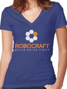 Robocraft Logo (White) Women's Fitted V-Neck T-Shirt