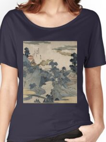 Utagawa Kuniyoshi - Fuji No Yukei (An Evening View Of Fuji). Country landscape: village view, country, buildings, house, rustic, farm, field, countryside road, trees, garden, flowers Women's Relaxed Fit T-Shirt