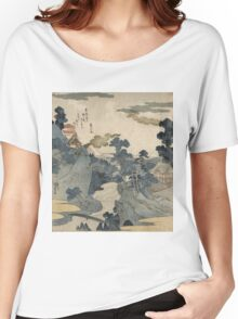 Utagawa Kuniyoshi - Fuji No Yukei (An Evening View Of Fuji). Country landscape: village view, country, buildings, house, rustic, farm, field, countryside road, trees, garden, flowers Women's Relaxed Fit T-Shirt