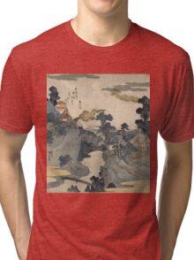 Utagawa Kuniyoshi - Fuji No Yukei (An Evening View Of Fuji). Country landscape: village view, country, buildings, house, rustic, farm, field, countryside road, trees, garden, flowers Tri-blend T-Shirt