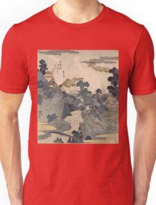 Utagawa Kuniyoshi - Fuji No Yukei (An Evening View Of Fuji). Country landscape: village view, country, buildings, house, rustic, farm, field, countryside road, trees, garden, flowers Unisex T-Shirt