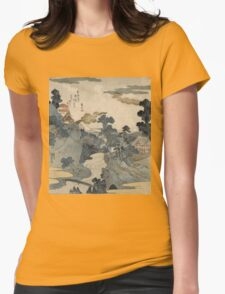 Utagawa Kuniyoshi - Fuji No Yukei (An Evening View Of Fuji). Country landscape: village view, country, buildings, house, rustic, farm, field, countryside road, trees, garden, flowers Womens Fitted T-Shirt